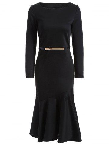 Outfit Midi Belted Long Sleeve Mermaid Prom Dress BLACK S