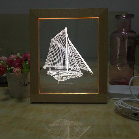 Online USB Wooden Photo Frame 3D Sailing Ship Night Light
