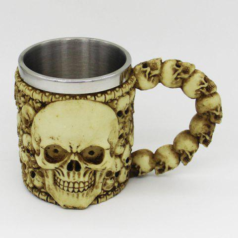 Latest Halloween Double Wall Stainless Steel with Handle Resin Skull Mug