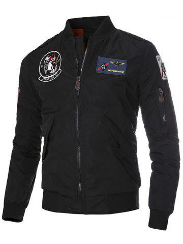 Cheap Patch Epaulet Zip Up Quilted Jacket