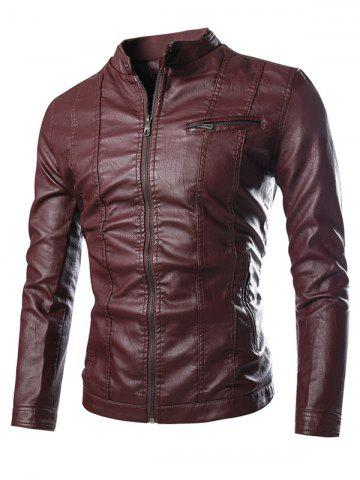 Fancy Stand Collar Zip Pocket PU Leather Jacket WINE RED 3XL
