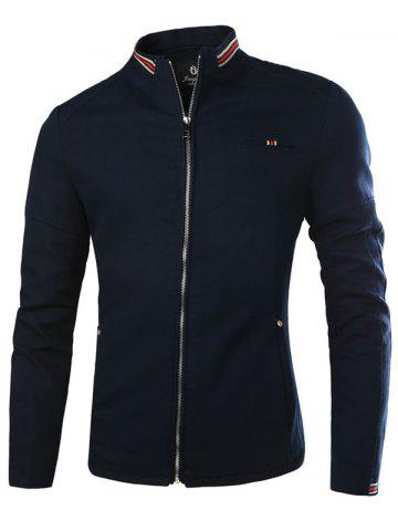 Rayé pied de col Zip Up Jacket