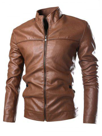 Shop Stand Collar Zip Cuff Faux Leather Jacket - M GOLD BROWN Mobile