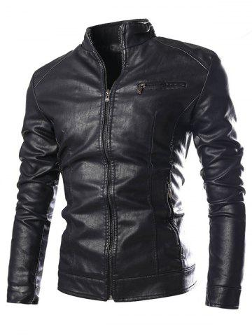 Outfit Stand Collar Zip Pocket Faux Leather Jacket BLACK 3XL