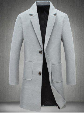Online Notch Lapel Patch Pocket Back Vent Woolen Coat LIGHT GRAY 5XL
