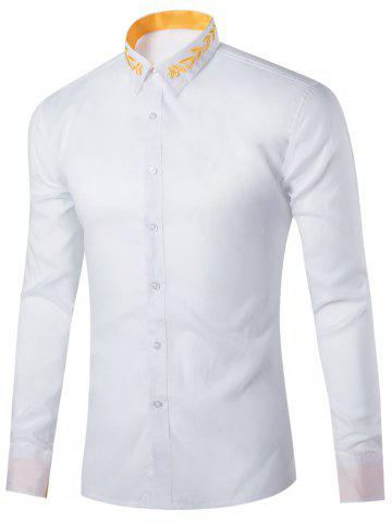 Fancy Long Sleeve Leaf Embroidered Shirt WHITE 2XL