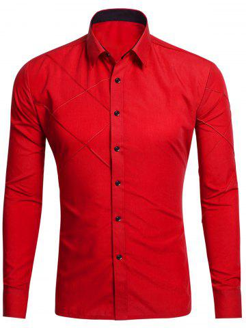 Shops Long Sleeve Stitch Button Up Shirt - RED M Mobile