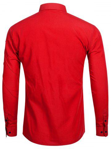 Sale Long Sleeve Stitch Button Up Shirt - RED M Mobile
