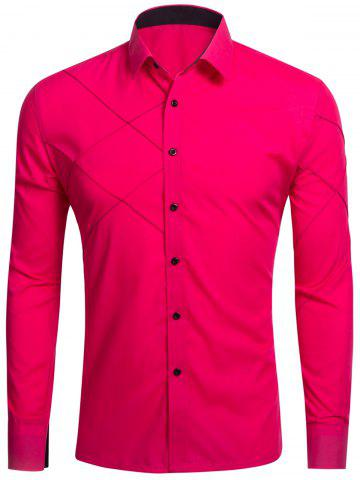 Cheap Long Sleeve Stitch Button Up Shirt