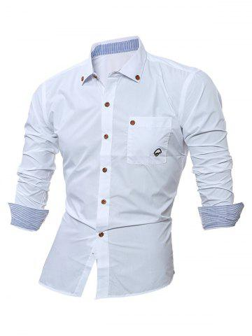 Shop Embroidered Chest Pocket Button Down Shirt - L WHITE Mobile