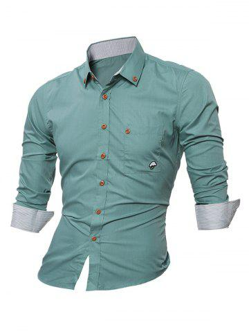 Unique Embroidered Chest Pocket Button Down Shirt - 2XL LIGHT GREEN Mobile