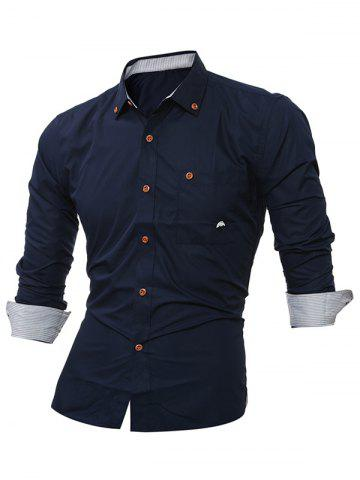 Fashion Embroidered Chest Pocket Button Down Shirt - M CADETBLUE Mobile