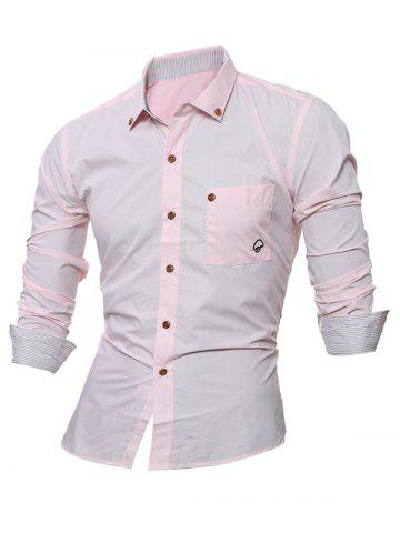 Latest Embroidered Chest Pocket Button Down Shirt - 3XL PINK Mobile