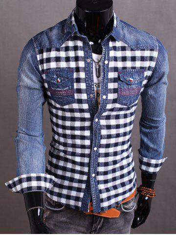 Online Snap Button Plaid Insert Jean Shirt