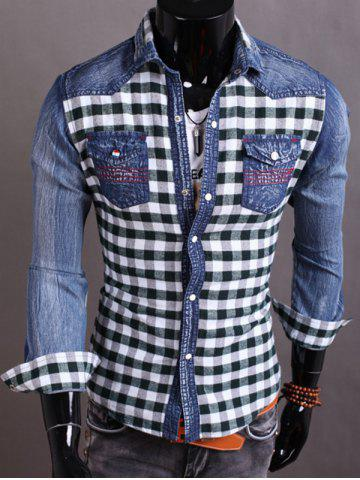 Discount Snap Button Plaid Insert Jean Shirt BLACKISH GREEN M