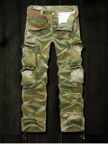 Outfits Drawstring Cuff Multi Pockets Camo Army Cargo Pants ARMY GREEN 40