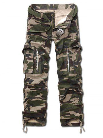 Latest Camo Multi Pockets Zippered Cargo Pants ARMY GREEN CAMOUFLAGE 40
