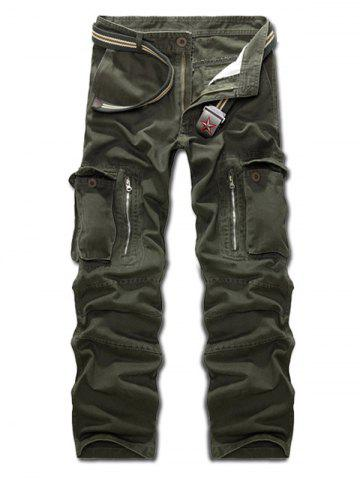 Multi Pockets Zippered Cargo Pants - Army Green - 32