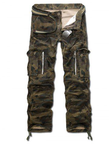 Drawstring Zippered Camo Army Cargo Pants - ARMY GREEN CAMOUFLAGE 40