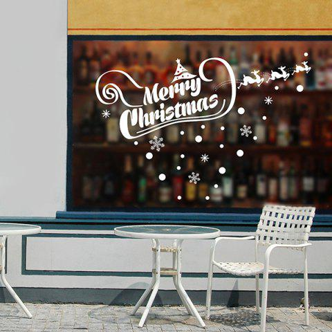 Fashion Merry Christmas Banner Showcase Removable Wall Stickers WHITE