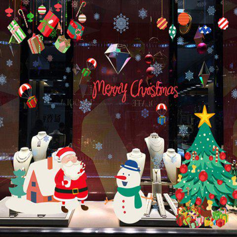 Fashion Wholesale Merry Christmas Shopwindow Removable Wall Stickers COLORFUL