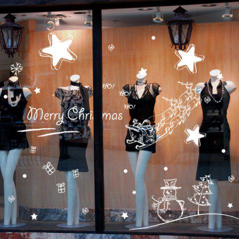 Outfit Merry Christmas Starry Sky Removable Glass Window Wall Stickers WHITE