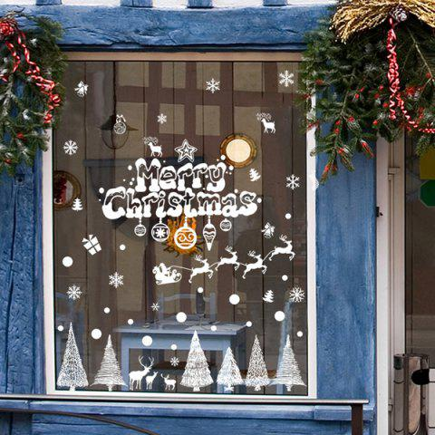 Fancy Merry Christmas Banner Glass Window Decoration Wall Stickers WHITE