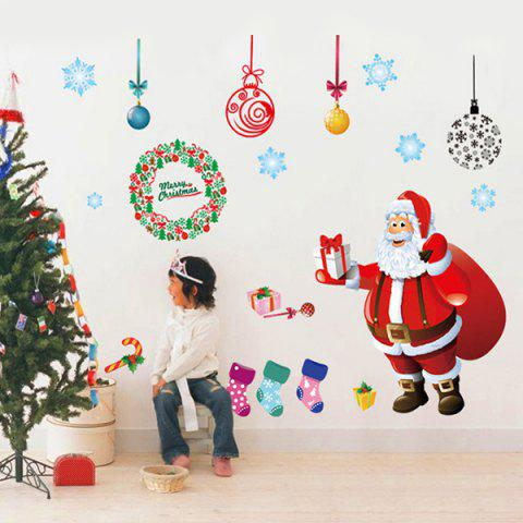 Cheap Showcase Merry Christmas Santa Claus Removable Wall Stickers COLORFUL