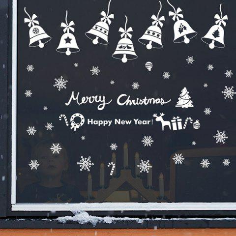 Shop Christmas Bell Removable Room Decor Wall Stickers WHITE