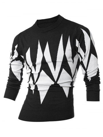 Buy Ribbed Geometric Pattern Crew Neck Sweater BLACK 2XL