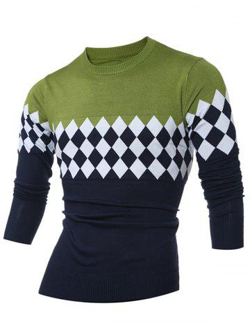 Cheap Diamond Pattern Color Matching Crew Neck Sweater GREEN L