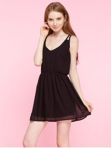 Trendy Spaghetti Strap Plain Chiffon Mini Dress BLACK S