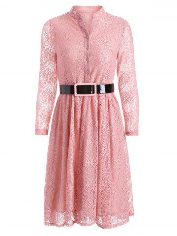 Sale Belted Lace Knee Length Shirt Dress PINK 2XL