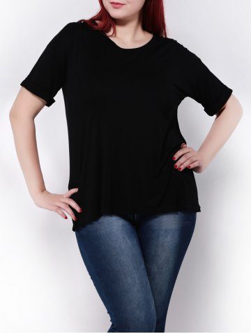 Affordable Plus Size Stretchy Hemming Sleeves T-Shirt BLACK 4XL