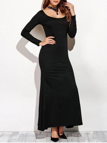 Outfit Scoop Neck Backless Long Sleeve Maxi Dress