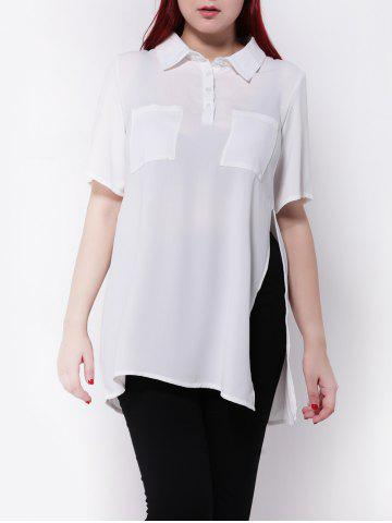 Cheap Plus Size Side Slit Chiffon Blouse WHITE 3XL