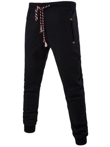 Colorful String Lace-Up Plus Size Beam Feet Jogger Pants - Black - M