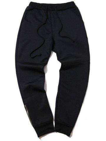 Fancy Plus Size Zipper Design Beam Feet Jogger Pants BLACK 5XL