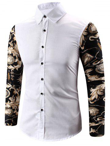 Trendy Turn-Down Collar 3D Abstract Floral Print Spliced Shirt WHITE L