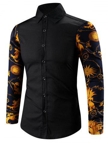 Fancy Turn-Down Collar 3D Abstract Floral Print Spliced Shirt BLACK M