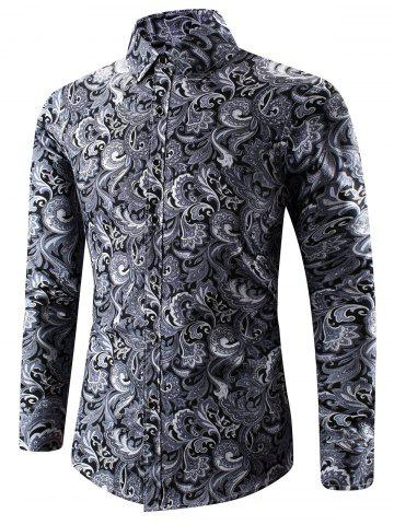 Buy Turn-Down Collar 3D Paisley Print Long Sleeve Shirt BLACK 2XL