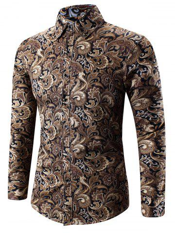 Unique Turn-Down Collar 3D Paisley Print Long Sleeve Shirt YELLOW M