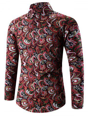 Discount Turn-Down Collar 3D Paisley Print Long Sleeve Shirt - 2XL RED Mobile