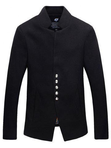 Store Stand Collar Single-Breasted Woolen Jacket BLACK L