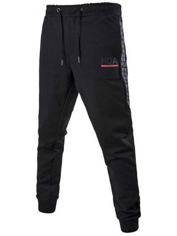Fancy Drawstring Waist Grid Printed Jogger Pants BLACK 5XL