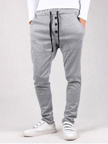 Buy Drawstring Waist Button Embellished Jogger Pants LIGHT GRAY XL