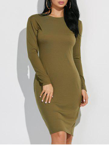 Hot Long Sleeve Plain Casual Fitted Dress ARMY GREEN XL