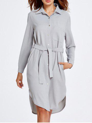 Outfits Long Sleeve Belted Formal Shirt Dress