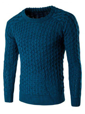 Cheap Textured Crew Neck Slim Fit Pullover Sweater LAKE BLUE XL