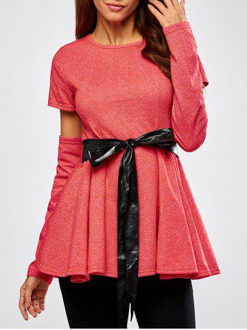 Latest Detachable Sleeve Belted Skirted Top